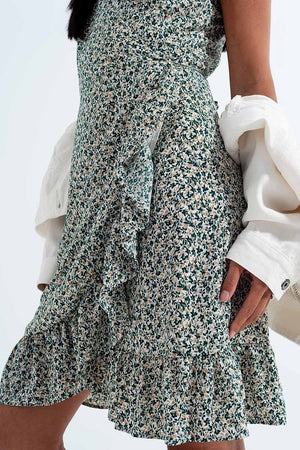 Ruffle Wrap Dress in Green Floral Print - Himelhoch's