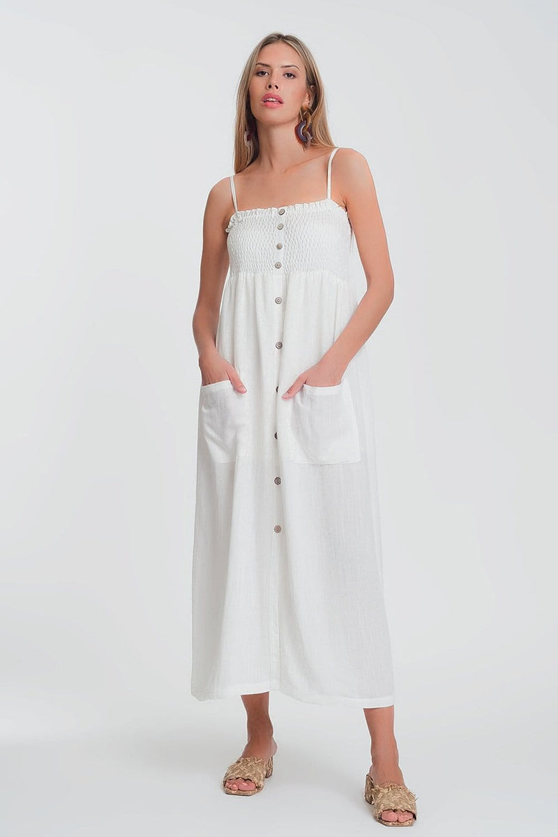 Q2 shirred bust maxi white dress with pockets