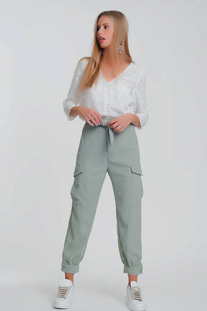Shirred waist cargo straight leg pants with pockets in green - Himelhoch's