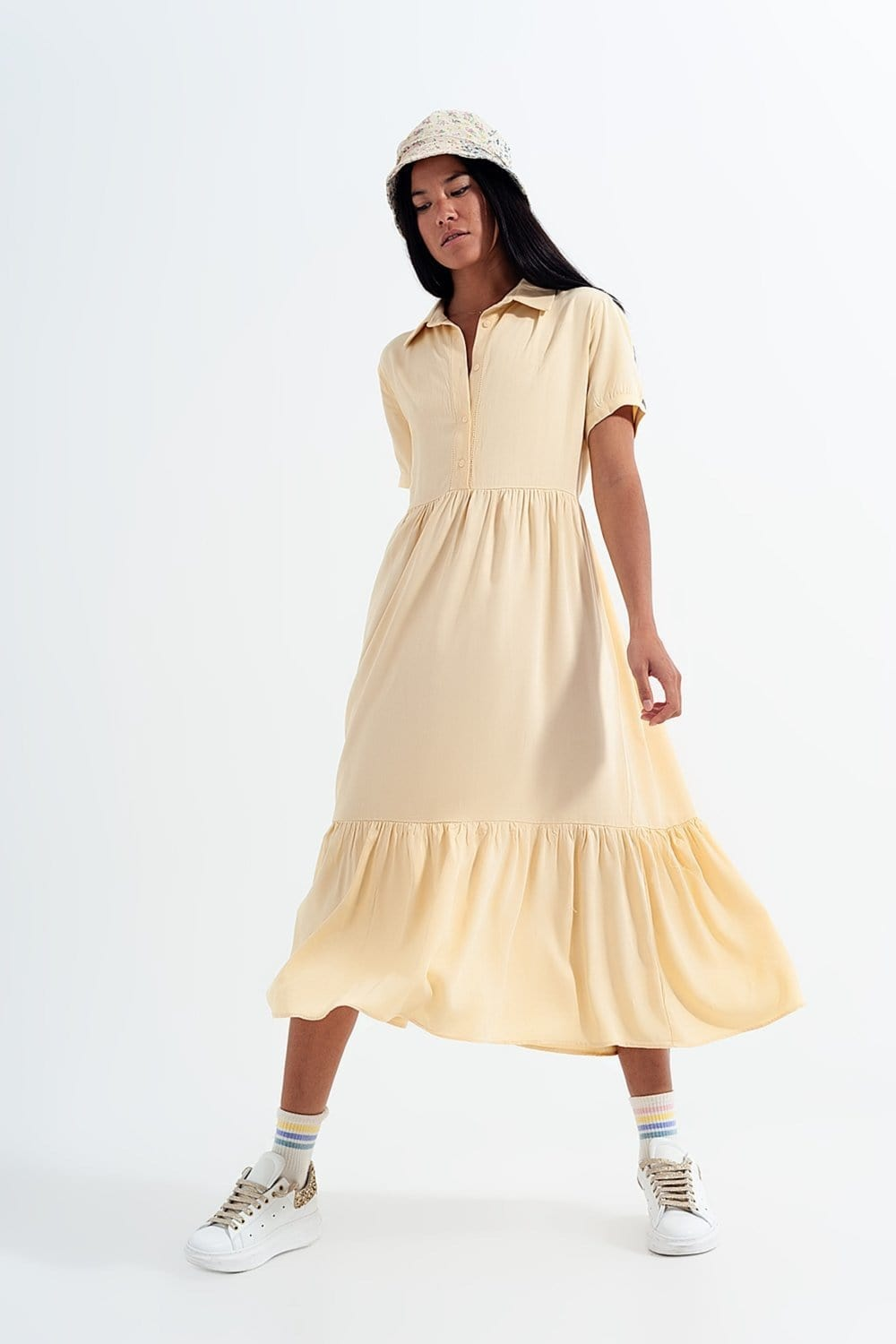 Q2 Shirt dress with tiered hem in yellow