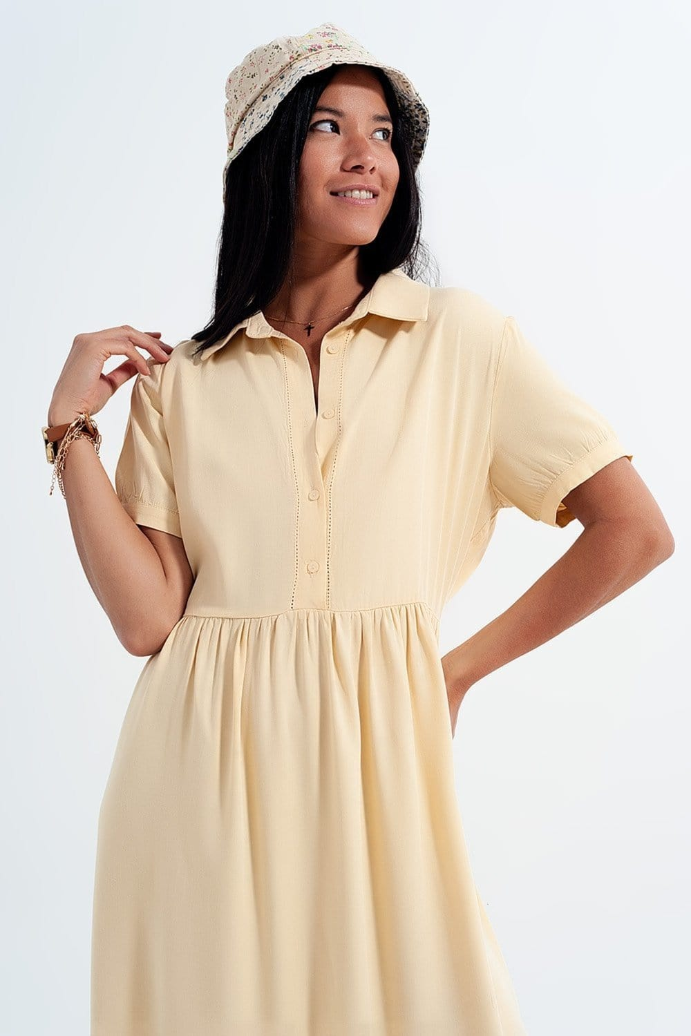 Shirt Dress with Tiered Hem in Yellow - Himelhoch's
