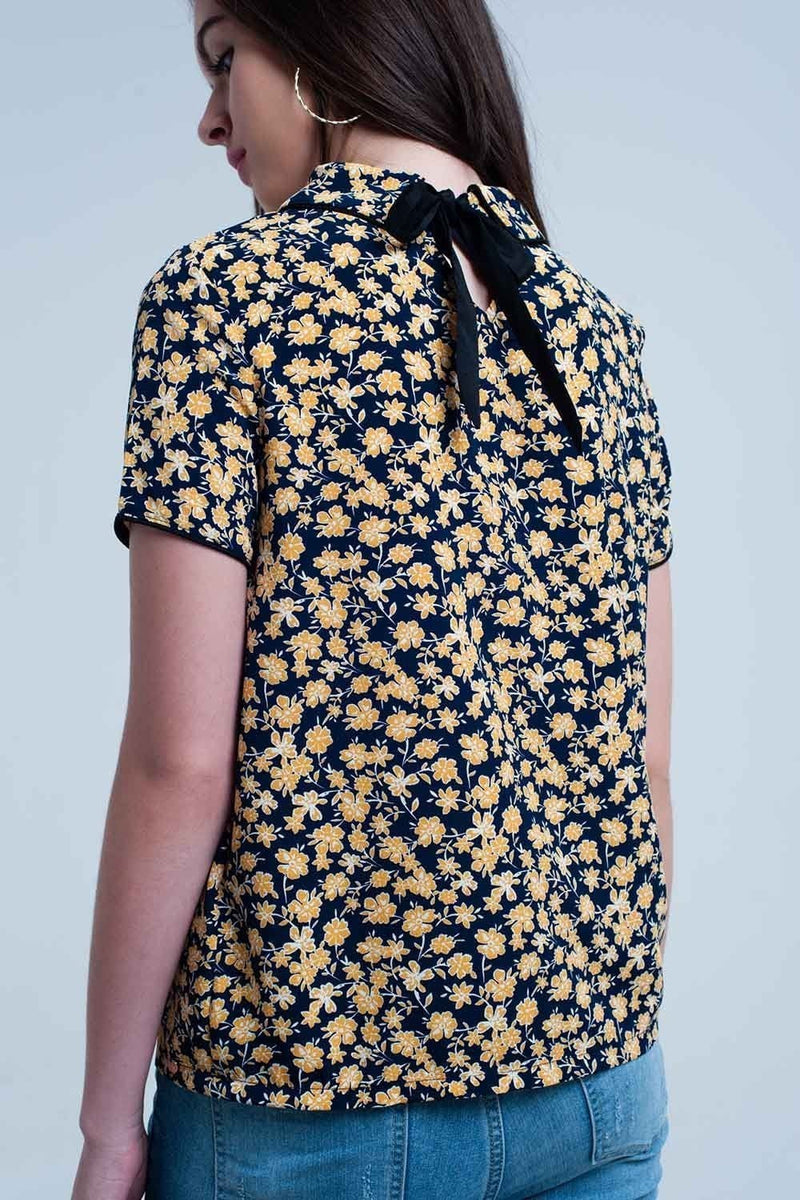 Shirt with yellow flowers print - Himelhoch's