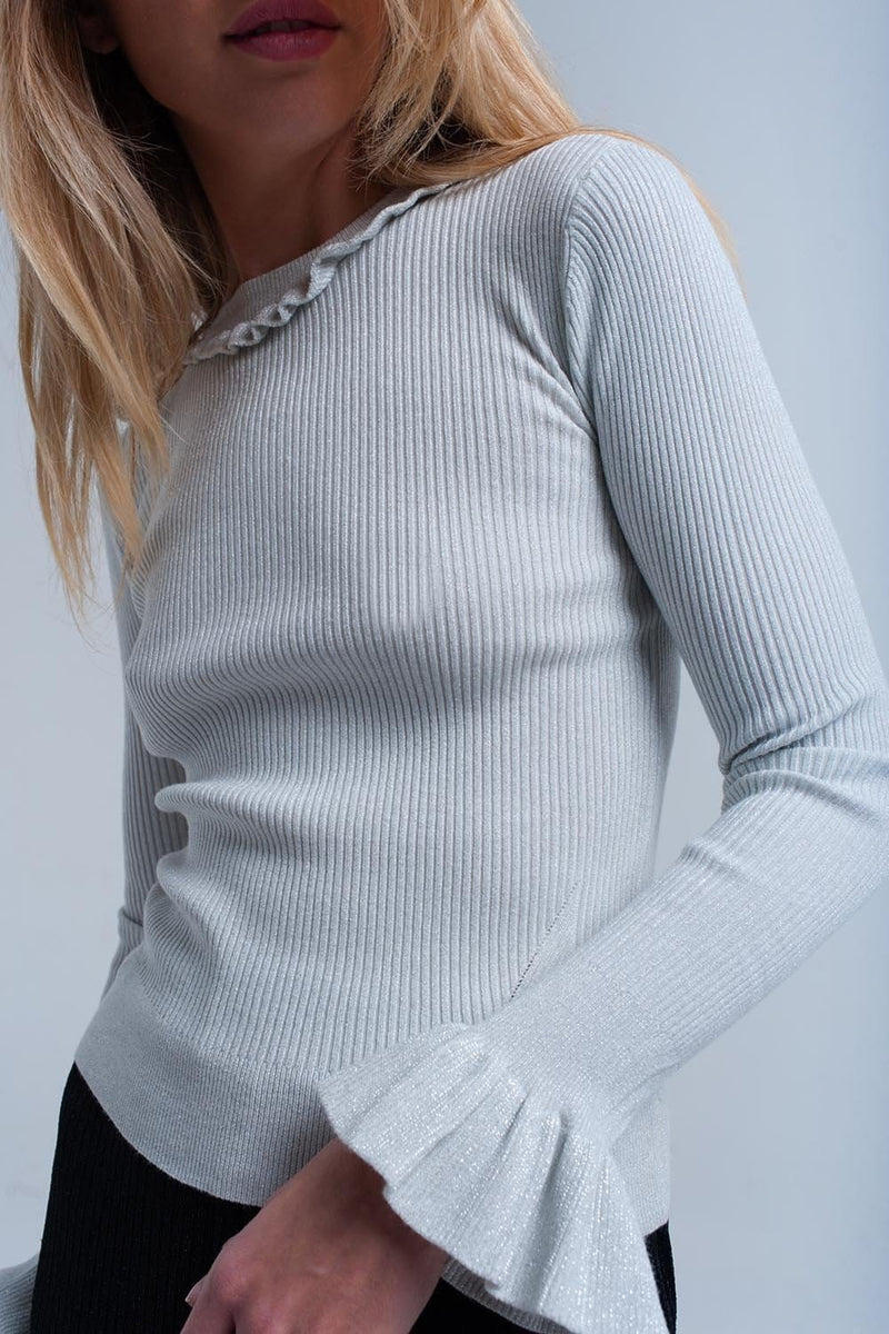 Silver shiny sweater with ruffle