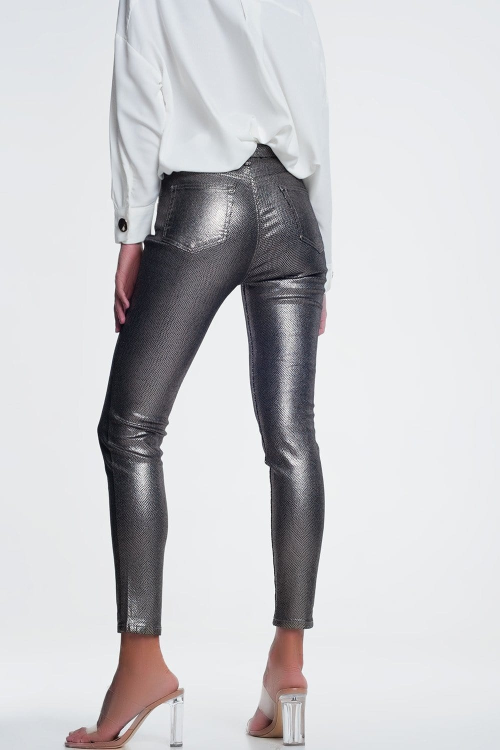 Silver Trousers with Snake Print - Himelhoch's