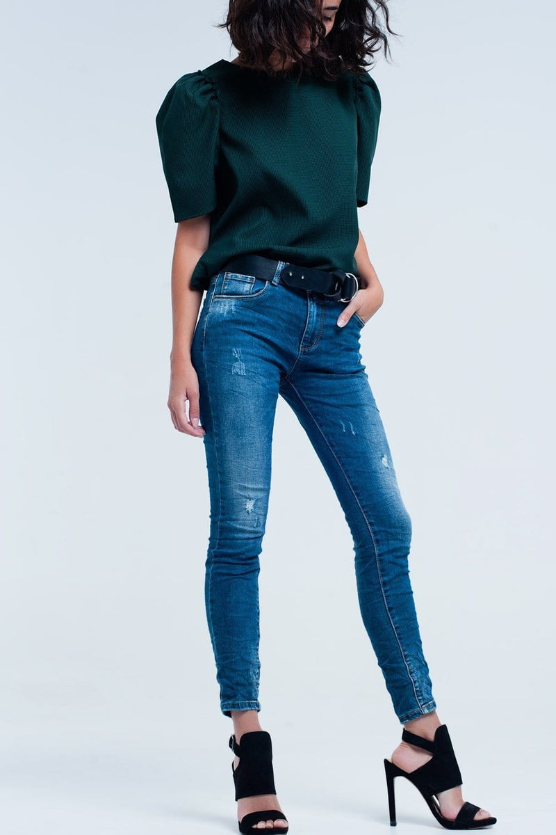 Skinny Blue jeans with rips - Himelhoch's