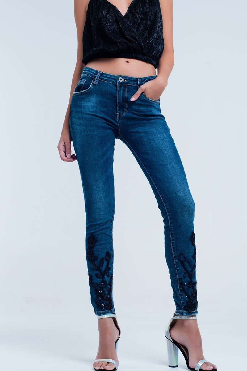 Skinny Blue jeans with strass - Himelhoch's