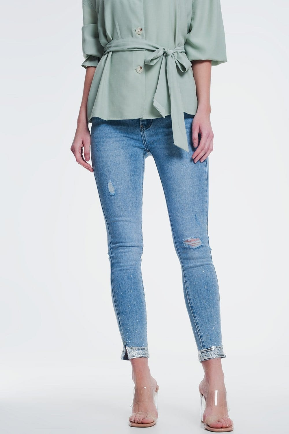 Skinny Jean with Knee Rips and Sequin - Himelhoch's