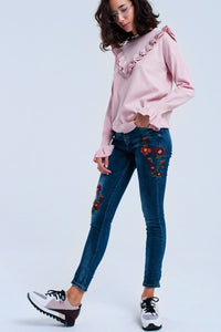 Skinny jeans with flowers - Himelhoch's