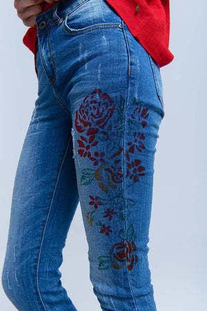 Skinny jeans with painted floral - Himelhoch's