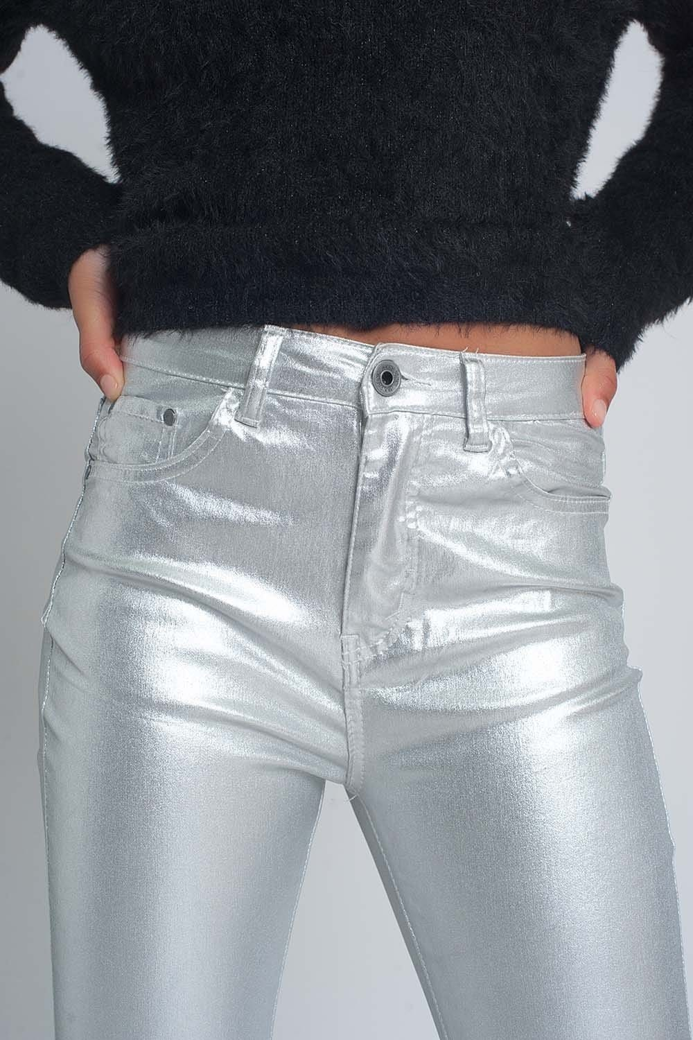 Skinny Pants in Silver Metallic - Himelhoch's
