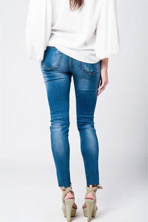 Skinny rip jeans with embroidered patches - Himelhoch's