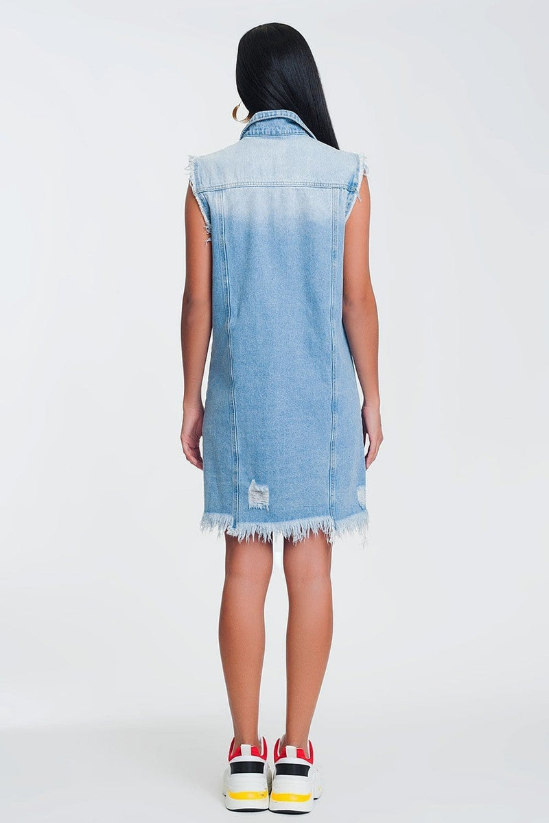 Sleeveless Denim Dress in Light Denim