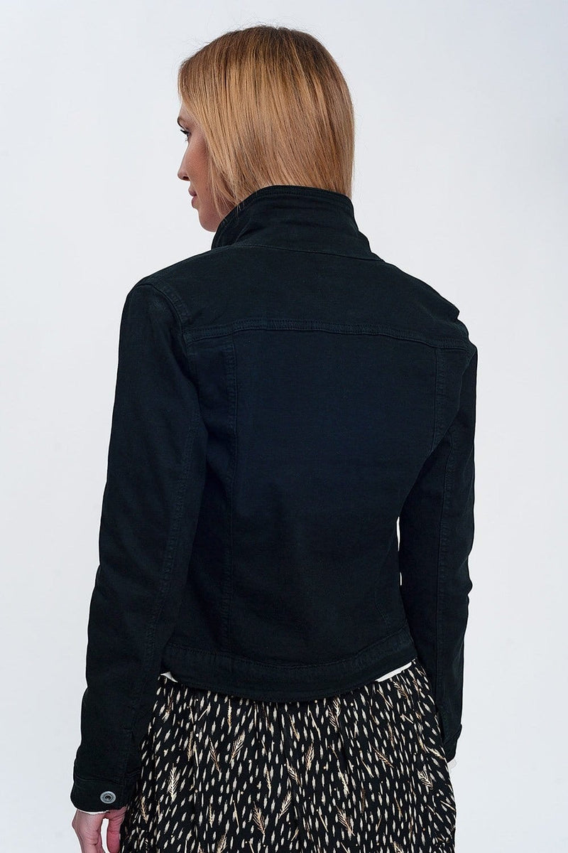 Slim Denim Trucker Jacket in Black - Himelhoch's