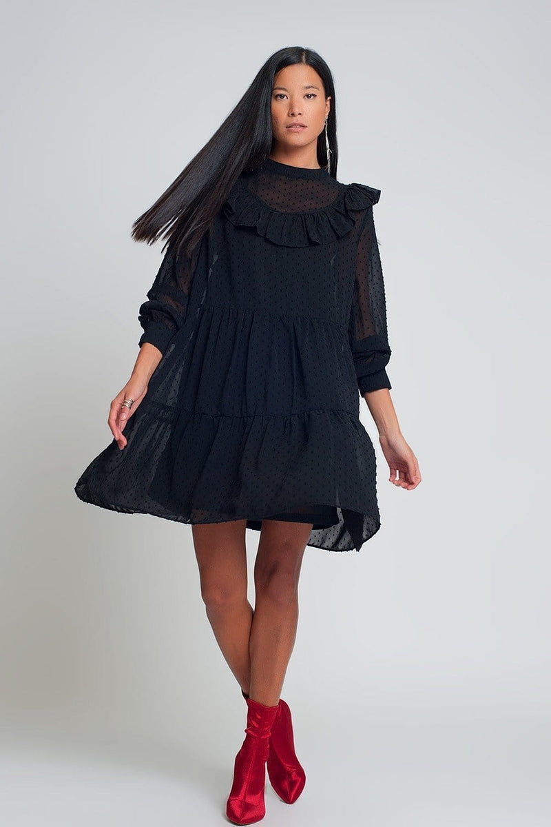 Smocked Chiffon Mini Dress with Ruffles Puff Sleeves in Black with Black Polk Dot - Himelhoch's