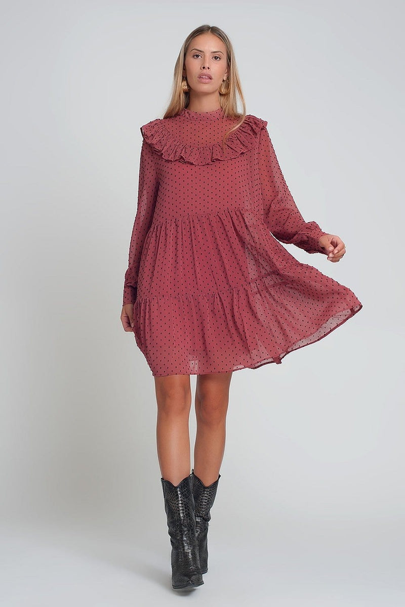 Q2 Smocked chiffon mini dress with ruffles puff sleeves in pink with black polk dot