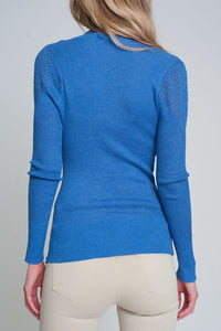 Soft Ribbed Sweater with Turtleneck in Blue - Himelhoch's