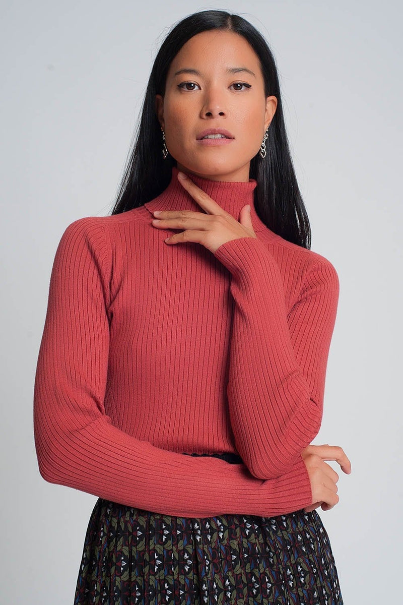 Soft Ribbed Sweater with Turtleneck in Coral - Himelhoch's