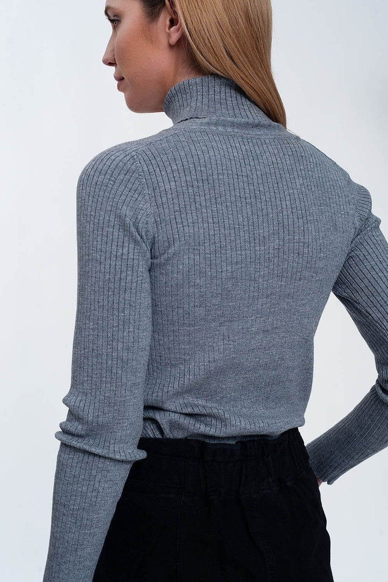 Soft Ribbed Sweater with Turtleneck in Gray - Himelhoch's