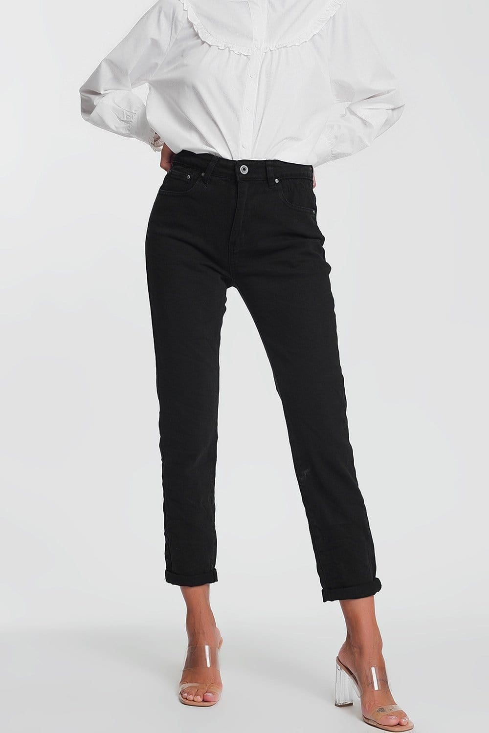 Q2 Straight leg high waisted jeans in black