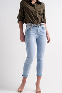 Straight Leg Jeans with Folded Ankles in Light Denim - Himelhoch's