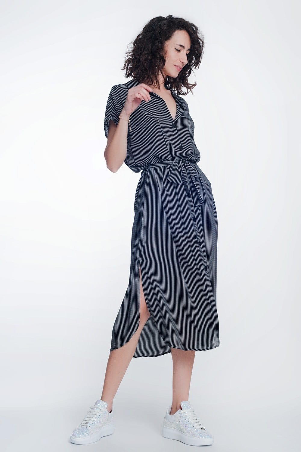 Q2 stripe black belted shirt dress
