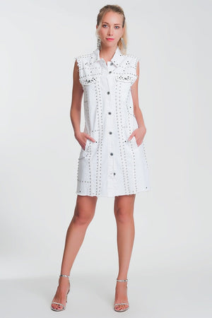 Q2 Studded dress in white