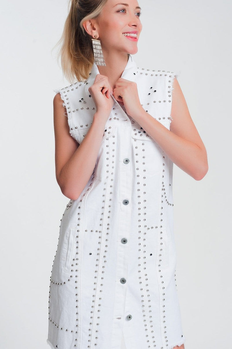 Studded Dress in White