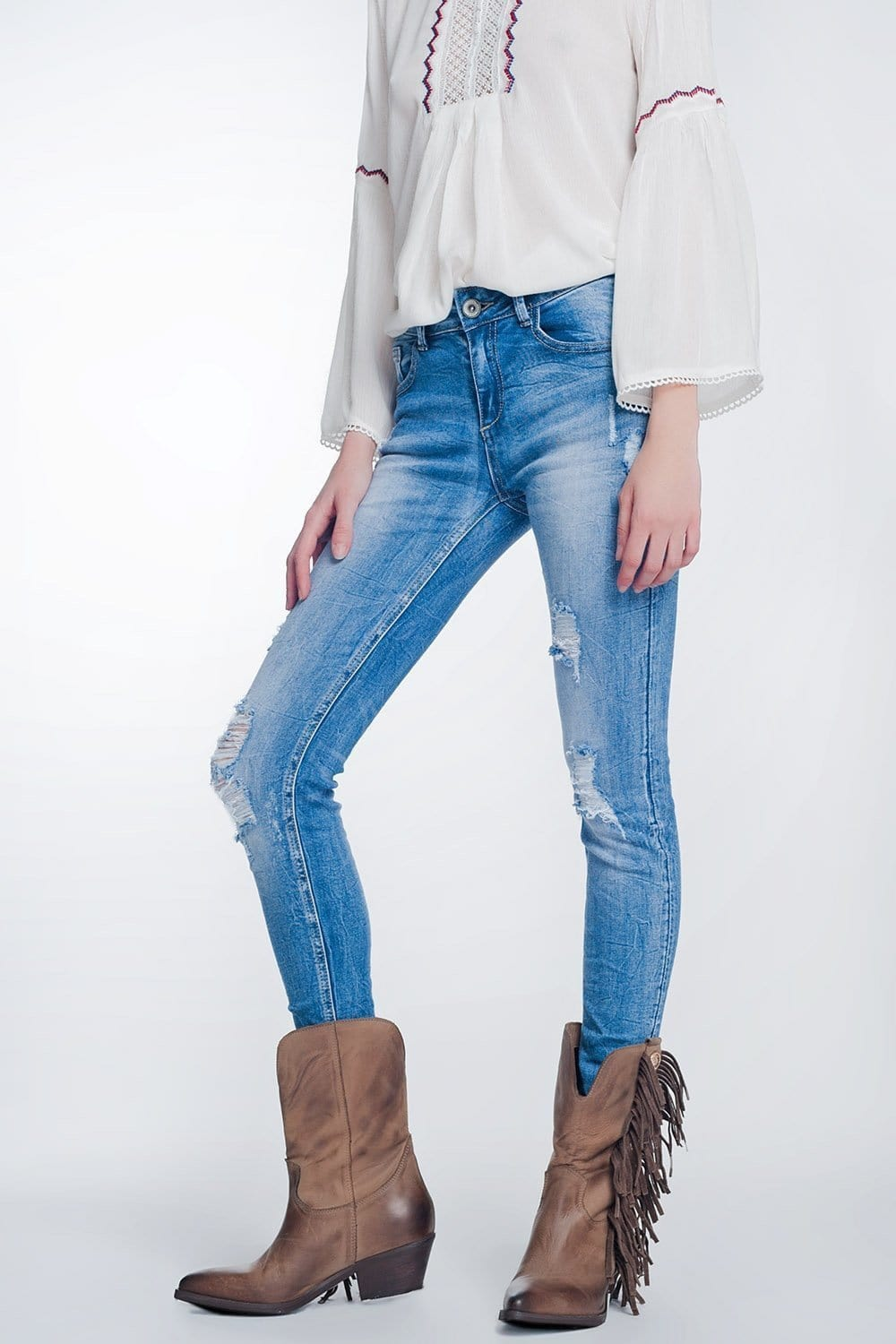 Q2 super skinny jeans in vintage mid wash blue with heavy rips