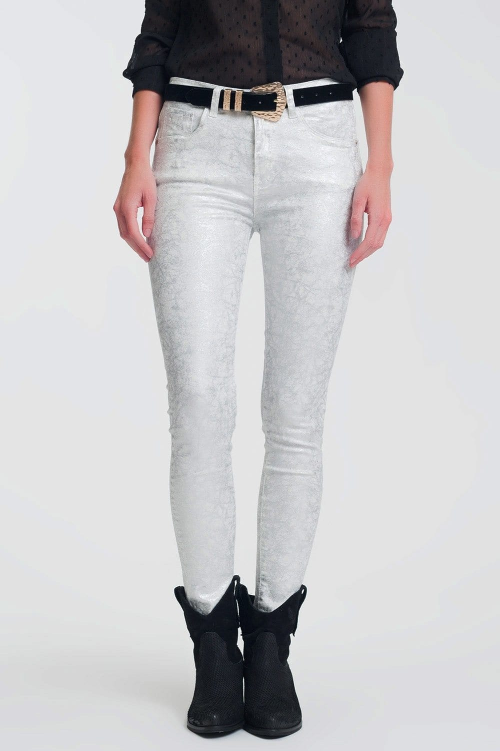 Q2 super skinny white jeans with silver print