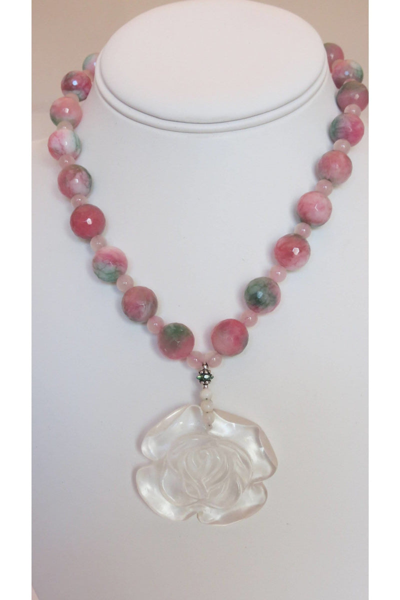 Carved Rose Pendant With Candied Jade & Rose Quartz