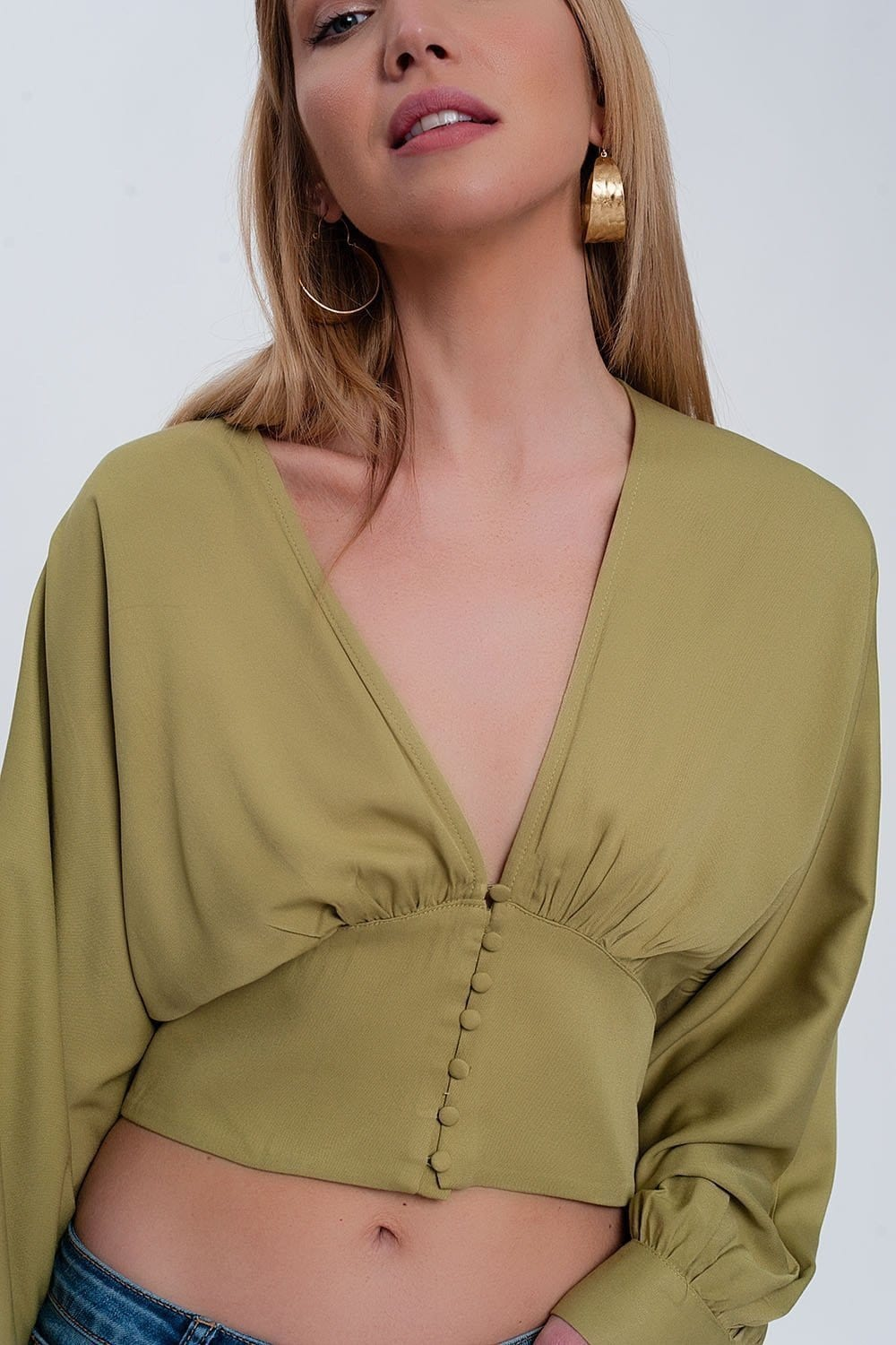 Top with Puff Sleeves in Green - Himelhoch's