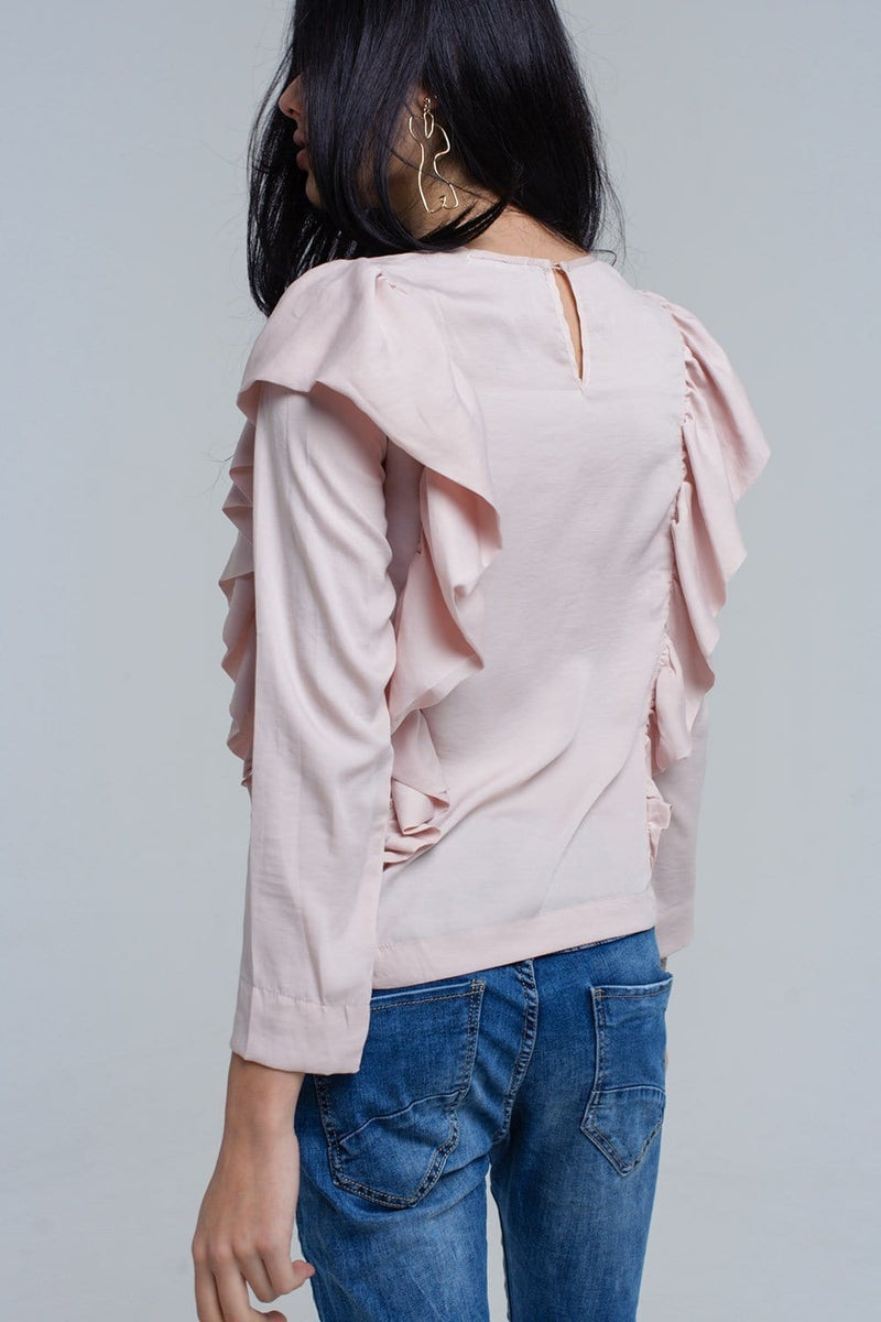 Top with ruffle detail in pale pink - Himelhoch's