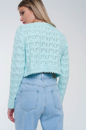 Turquoise Cardigan with Button Front in Crochet Knit - Himelhoch's
