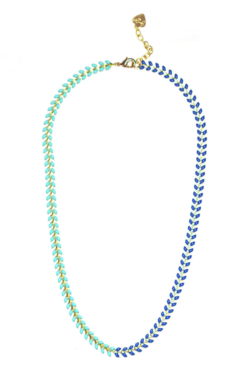 Navy And Turquoise Enamel Chevron Necklace - Himelhoch's