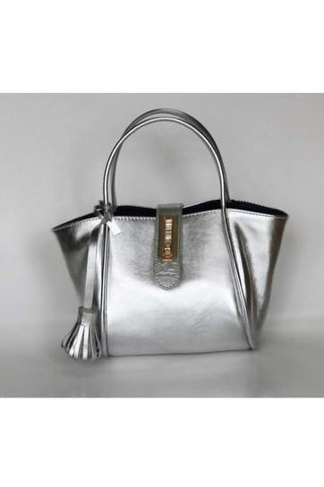 Fifi Leather Handbag in Silver