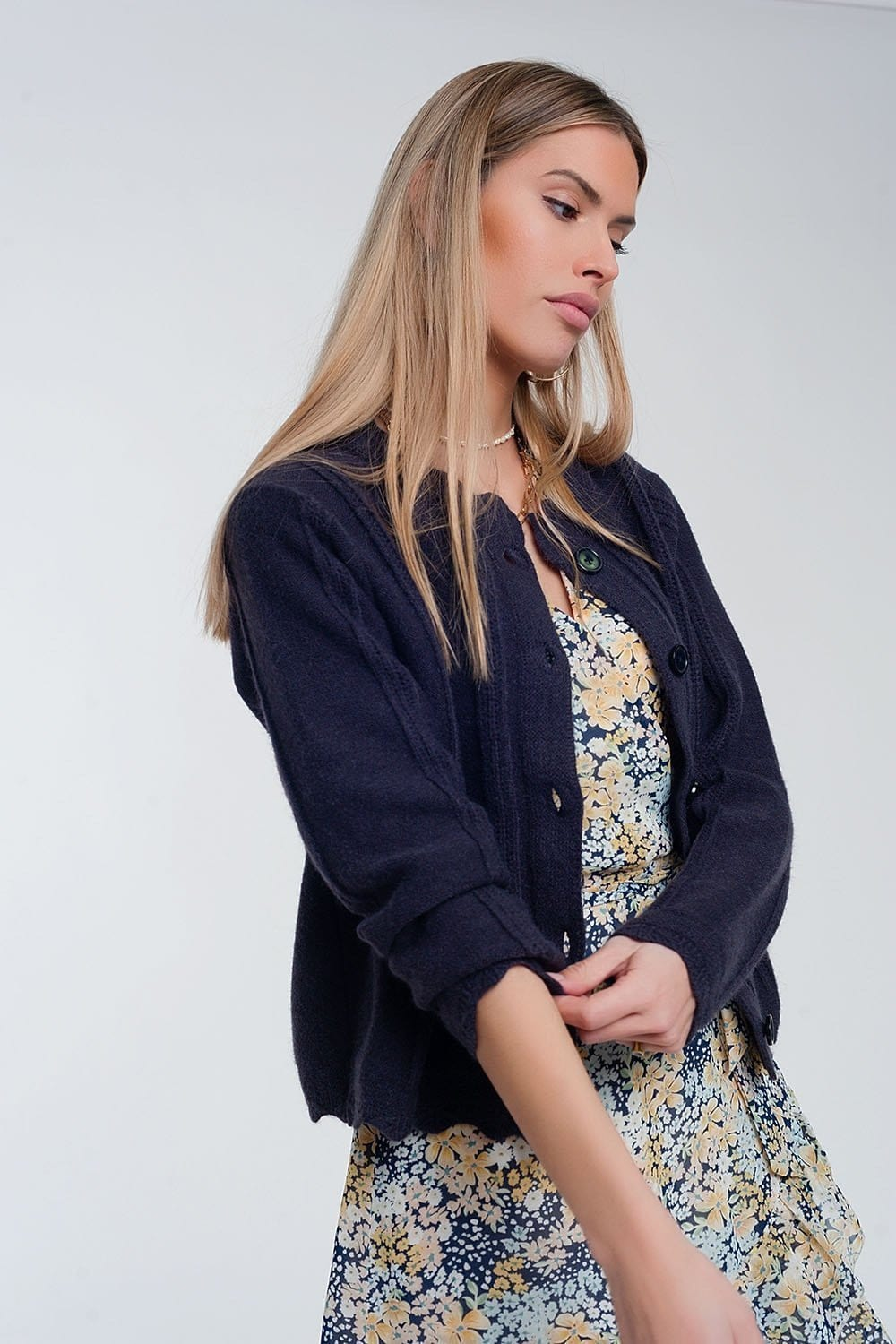 Vintage Inspired Button Front Crop 90s Cardi in Navy - Himelhoch's