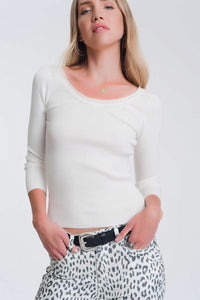 White knitted wide neck sweater