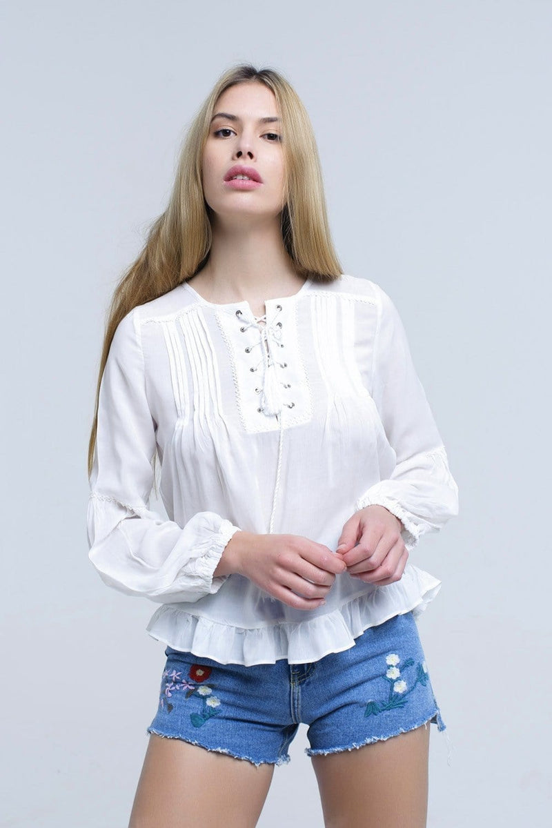 White lace up top with ruffle detail - Himelhoch's