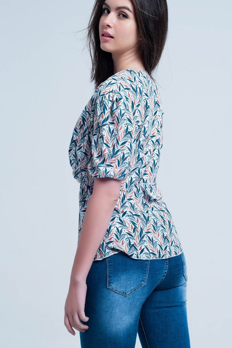White top with leaf print - Himelhoch's