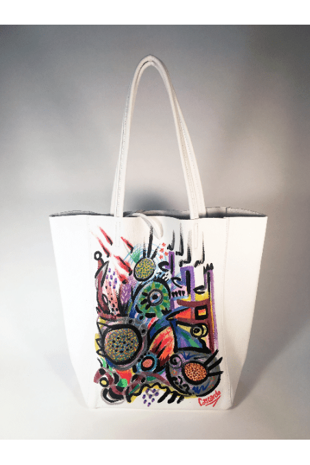 Hand Painted Cascardo Tote Bag (White) - Himelhoch's