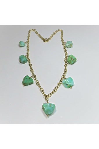 Chrysoprase & 14K Gold Filled Dangle Necklace