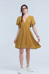 Yellow dress with flight and geometric pattern - Himelhoch's