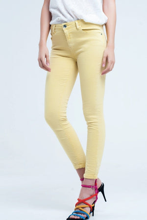 Q2 Yellow jean ankle with soft wrinkles