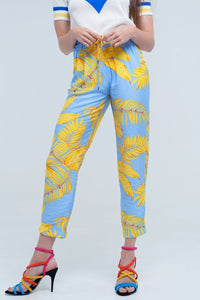 Q2 Yellow pants with leaf print and pockets