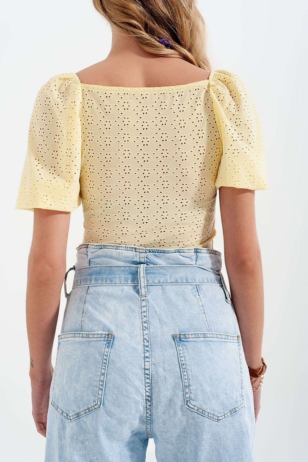 Yellow Short Top in Batiste Fabric with Puffed Sleeves - Himelhoch's