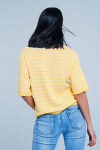 Yellow Striped Short Sleeve V-Neck Sweater - Himelhoch's