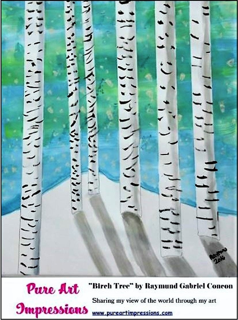 Birch Tree postcard - Autism Art