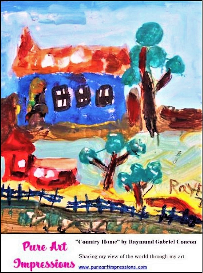 Country Home Postcard -Autism Art