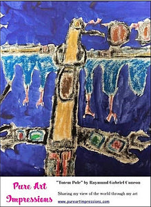Totem Pole Postcard  - Autism Art