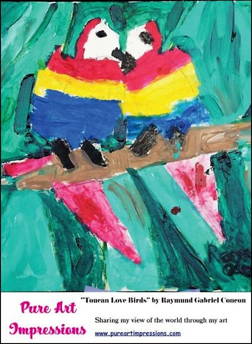 Toucan Love Birds Postcard - Autism Art